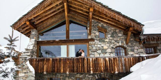 Alpine wedding bride and groom at Le Chardon Val d'Isere