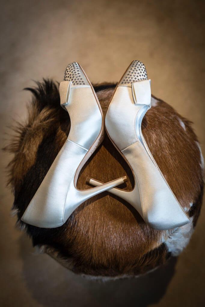 Alpine wedding bride's shoes at Le Chardon Val d'Isere