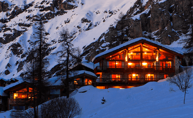 Evening view of chalet in Val D'isere